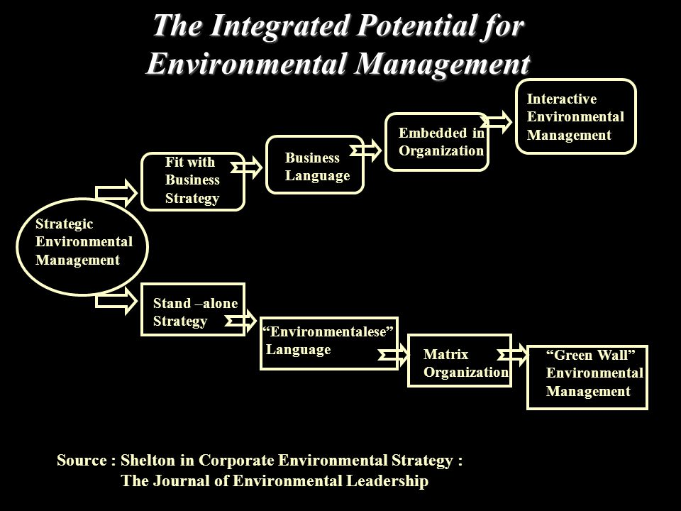 The Integrated Potential for Environmental Management Strategic Environmental Management Stand –alone Strategy Fit with Business Strategy Environmentalese Language Business Language Embedded in Organization Matrix Organization Interactive Environmental Management Green Wall Environmental Management Source : Shelton in Corporate Environmental Strategy : The Journal of Environmental Leadership