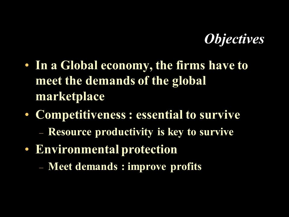 Objectives In a Global economy, the firms have to meet the demands of the global marketplace Competitiveness : essential to survive – Resource productivity is key to survive Environmental protection – Meet demands : improve profits