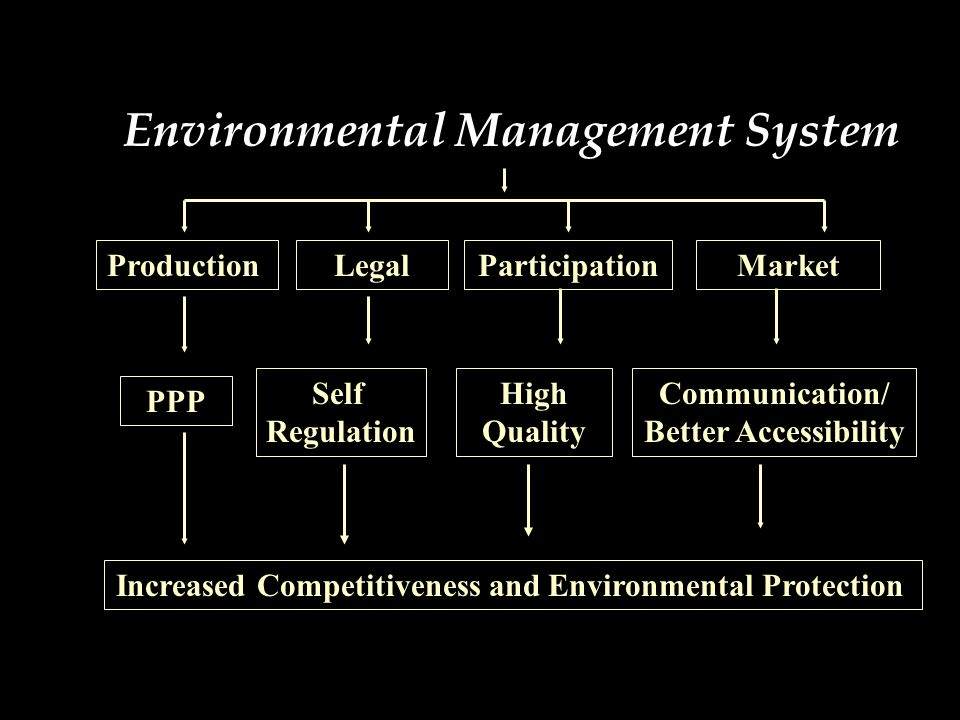 Environmental Management System ProductionLegalParticipationMarket PPP Self Regulation High Quality Communication/ Better Accessibility Increased Competitiveness and Environmental Protection