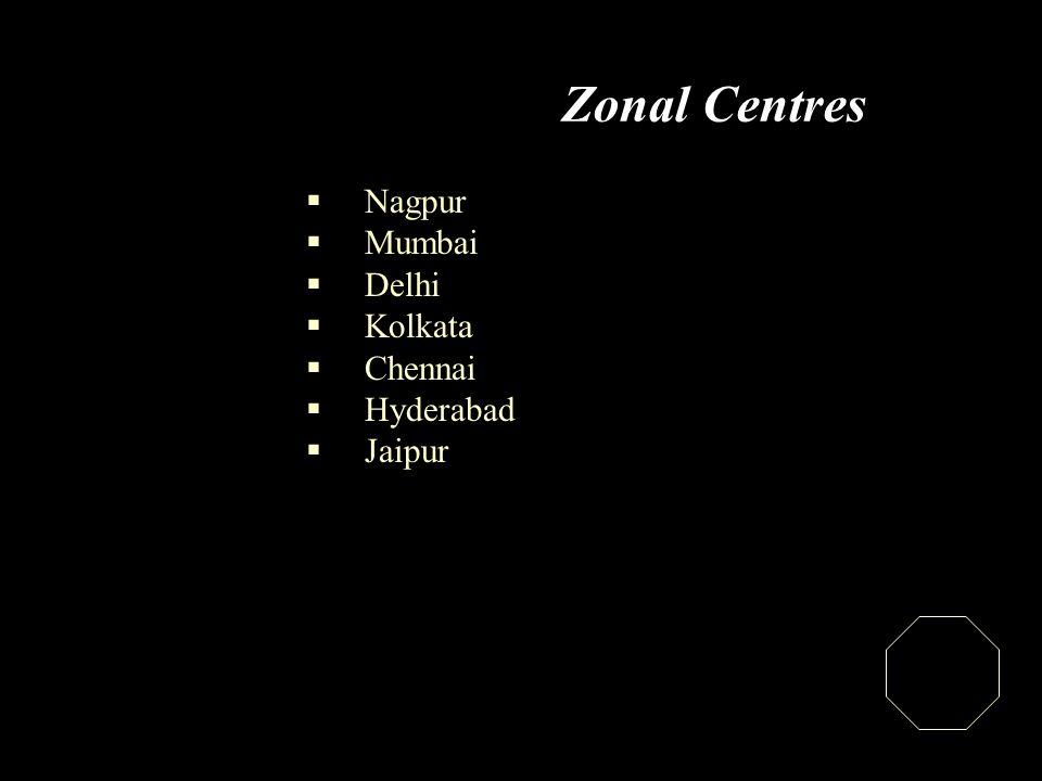 Zonal Centres  Nagpur  Mumbai  Delhi  Kolkata  Chennai  Hyderabad  Jaipur
