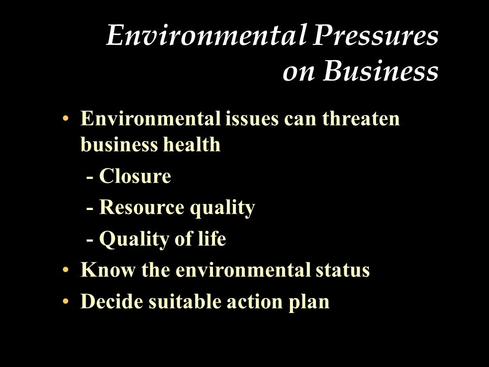 Environmental Management Credibility Gap Factors that have contributed to the credibility gap include : Corporate downsizing, which often throws environmental (and other) programs into tailspins Tight financial controls and increased scrutiny of the bottom-line contribution for all organizations in the company New management paradigms (i.e.