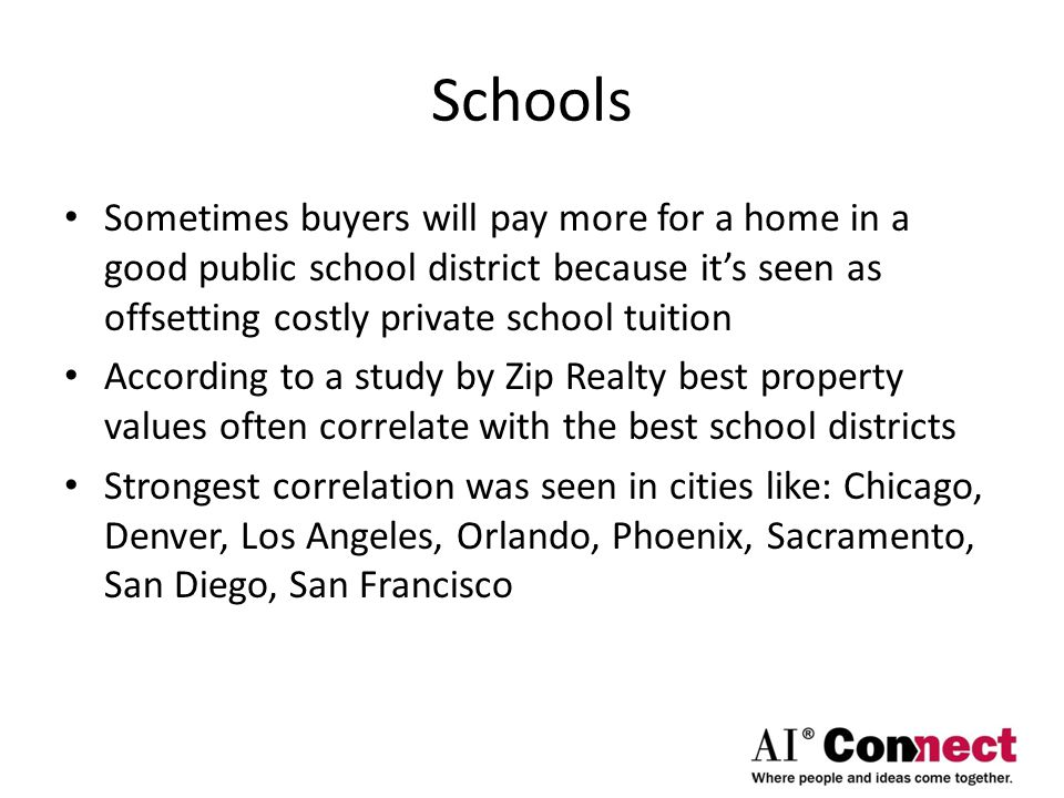 Schools Sometimes buyers will pay more for a home in a good public school district because it's seen as offsetting costly private school tuition According to a study by Zip Realty best property values often correlate with the best school districts Strongest correlation was seen in cities like: Chicago, Denver, Los Angeles, Orlando, Phoenix, Sacramento, San Diego, San Francisco