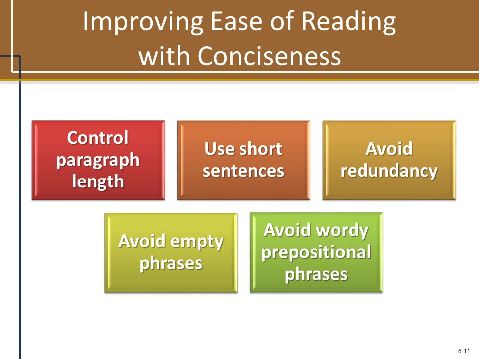 6-11 Improving Ease of Reading with Conciseness Control paragraph length Use short sentences Avoid redundancy Avoid empty phrases Avoid wordy preposit