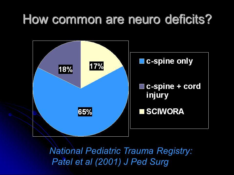 How common are neuro deficits? National Pediatric Trauma Registry: Patel et al (2001) J Ped Surg