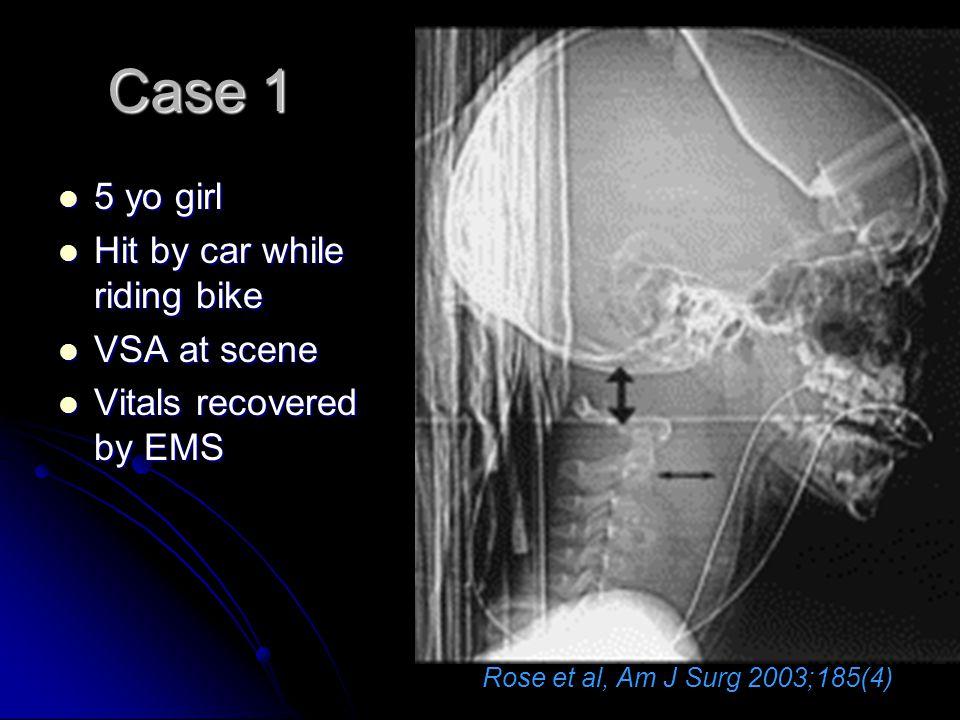 Case 1 5 yo girl 5 yo girl Hit by car while riding bike Hit by car while riding bike VSA at scene VSA at scene Vitals recovered by EMS Vitals recovere