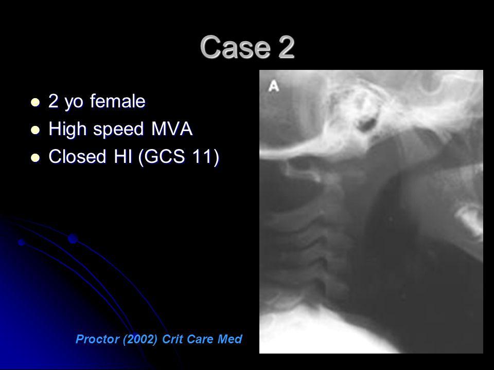 Case 2 2 yo female 2 yo female High speed MVA High speed MVA Closed HI (GCS 11) Closed HI (GCS 11) Proctor (2002) Crit Care Med