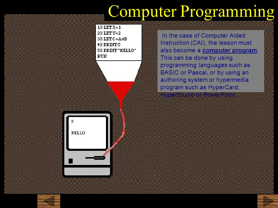 In the case of Computer Aided Instruction (CAI), the lesson must also become a computer program.