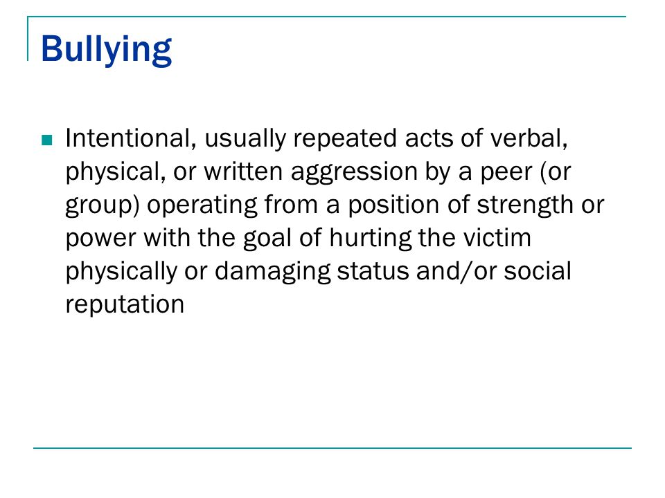 types of bullying essay Cyber bullying, physical bullying - different kinds of bullying my account preview preview better essays: types of bullying: physical.