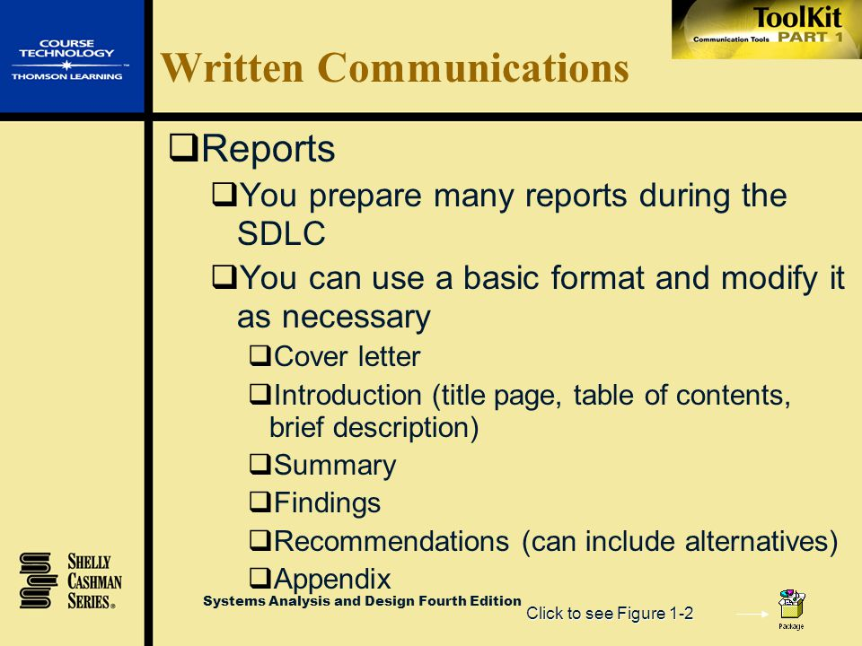Systems Analysis and Design Fourth Edition Written Communications  Email, memos, letters  Most companies have standard formats  Templates give your