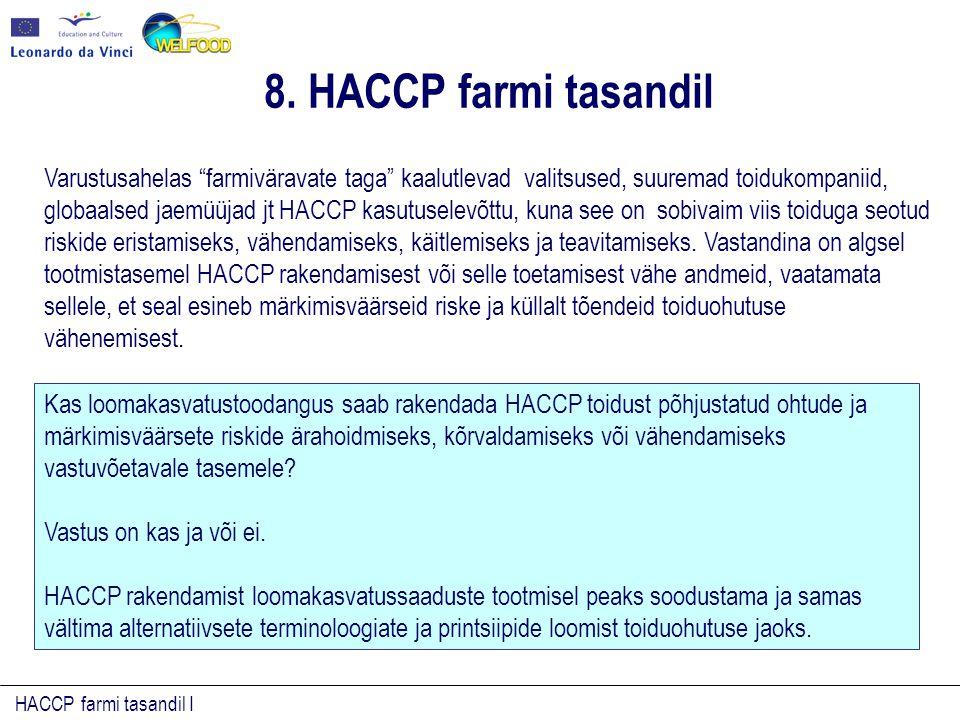 HACCP farmi tasandil I Varustusahelas farmiväravate taga kaalutlevad valitsused, suuremad toidukompaniid, globaalsed jaemüüjad jt HACCP kasutuselevõttu, kuna see on sobivaim viis toiduga seotud riskide eristamiseks, vähendamiseks, käitlemiseks ja teavitamiseks.