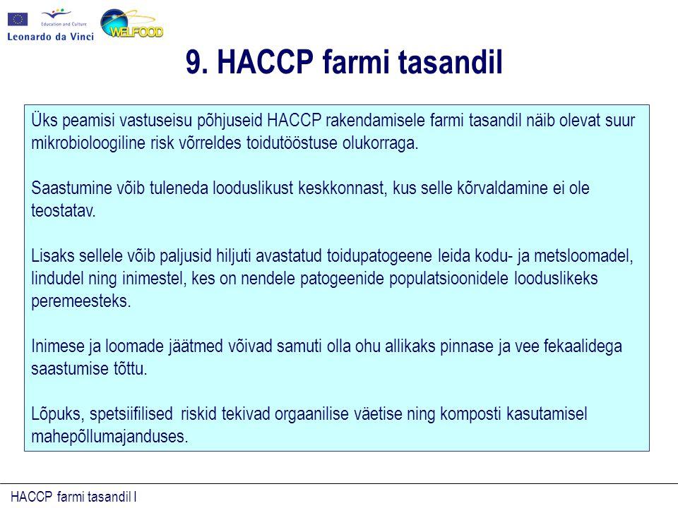 HACCP farmi tasandil I 9. HACCP farmi tasandil Üks peamisi vastuseisu põhjuseid HACCP rakendamisele farmi tasandil näib olevat suur mikrobioloogiline