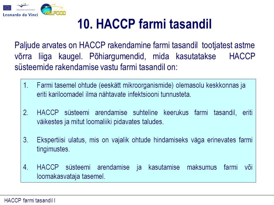 HACCP farmi tasandil I 1.Farmi tasemel ohtude (eeskätt mikroorganismide) olemasolu keskkonnas ja eriti kariloomadel ilma nähtavate infektsiooni tunnusteta.
