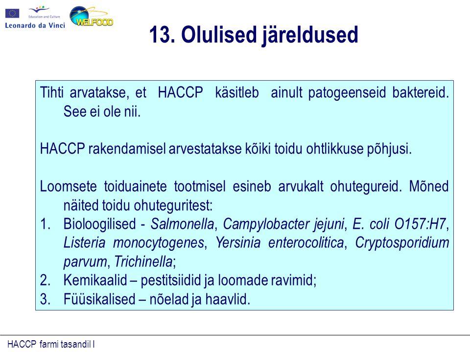 HACCP farmi tasandil I Tihti arvatakse, et HACCP käsitleb ainult patogeenseid baktereid. See ei ole nii. HACCP rakendamisel arvestatakse kõiki toidu o