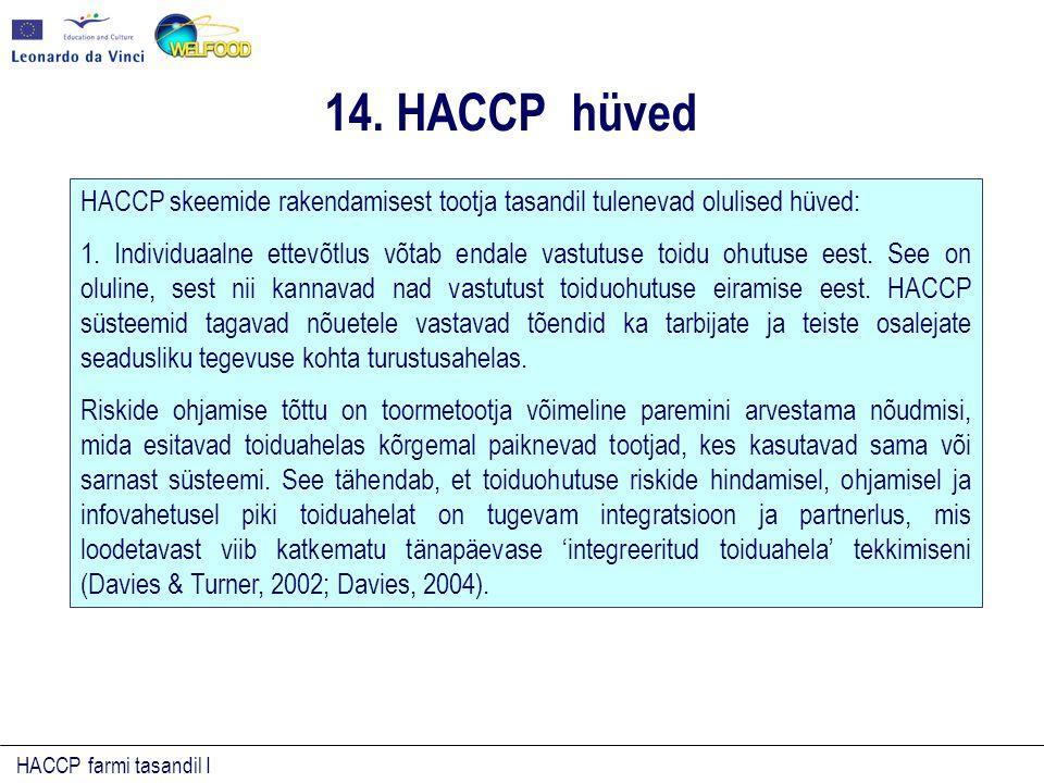 HACCP farmi tasandil I HACCP skeemide rakendamisest tootja tasandil tulenevad olulised hüved: 1. Individuaalne ettevõtlus võtab endale vastutuse toidu