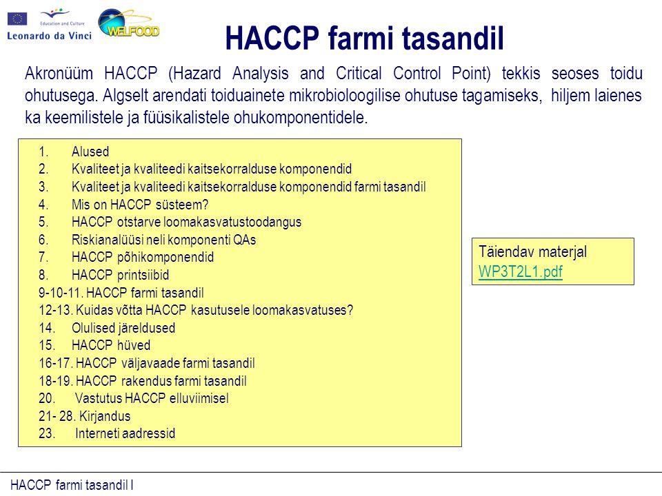 HACCP farmi tasandil I Akronüüm HACCP (Hazard Analysis and Critical Control Point) tekkis seoses toidu ohutusega. Algselt arendati toiduainete mikrobi