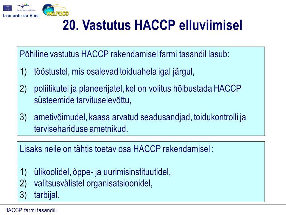 HACCP farmi tasandil I Põhiline vastutus HACCP rakendamisel farmi tasandil lasub: 1)tööstustel, mis osalevad toiduahela igal järgul, 2)poliitikutel ja planeerijatel, kel on volitus hõlbustada HACCP süsteemide tarvituselevõttu, 3)ametivõimudel, kaasa arvatud seadusandjad, toidukontrolli ja tervisehariduse ametnikud.