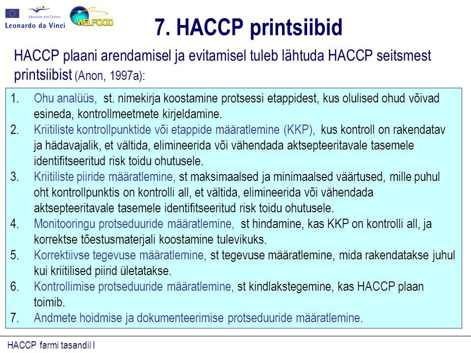 HACCP farmi tasandil I HACCP plaani arendamisel ja evitamisel tuleb lähtuda HACCP seitsmest printsiibist (Anon, 1997a): 1.Ohu analüüs, st.