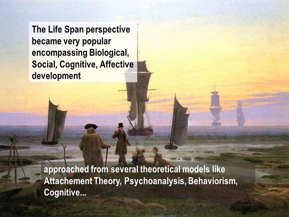 The Life Span perspective became very popular encompassing Biological, Social, Cognitive, Affective development approached from several theoretical models like Attachement Theory, Psychoanalysis, Behaviorism, Cognitive...