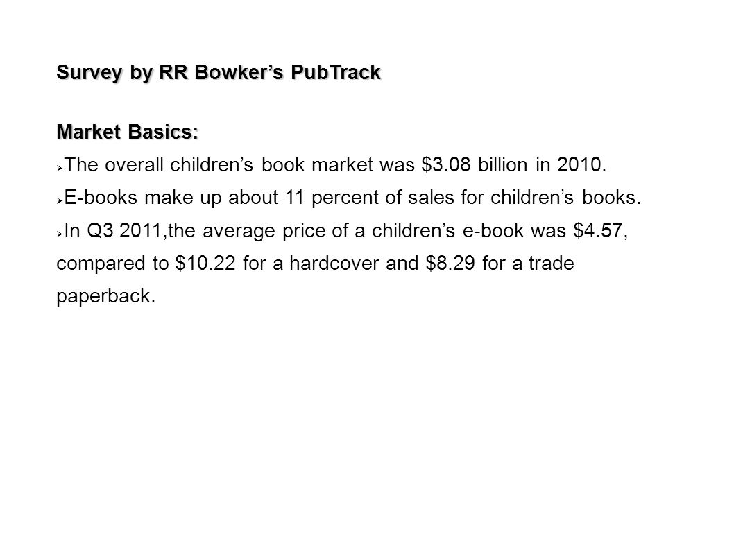 Survey by RR Bowker's PubTrack Market Basics:  The overall children's book market was $3.08 billion in 2010.  E-books make up about 11 percent of sa