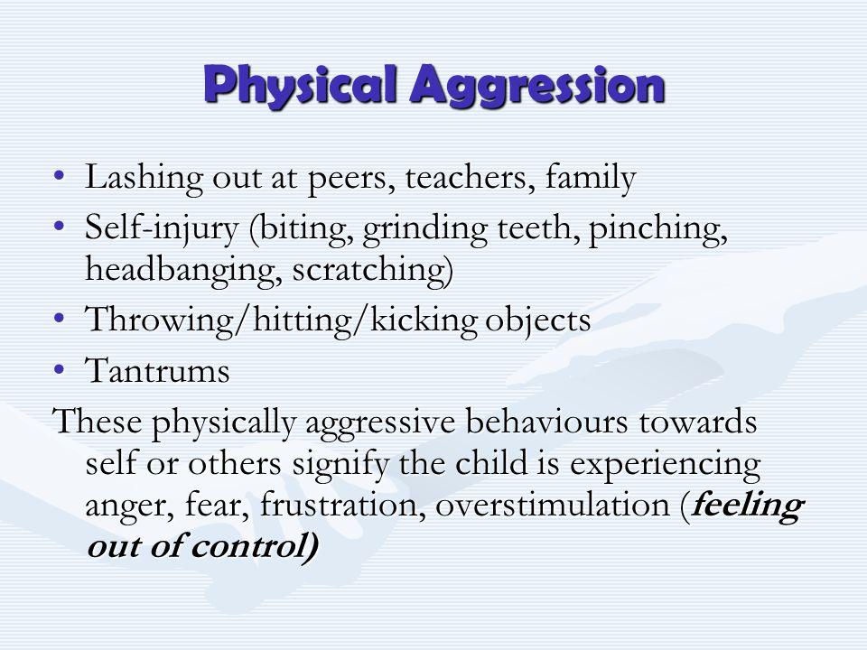 Physical Aggression Lashing out at peers, teachers, familyLashing out at peers, teachers, family Self-injury (biting, grinding teeth, pinching, headba