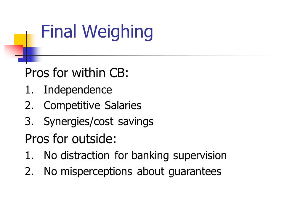 Final Weighing Pros for within CB: 1.Independence 2.Competitive Salaries 3.Synergies/cost savings Pros for outside: 1.No distraction for banking supervision 2.No misperceptions about guarantees