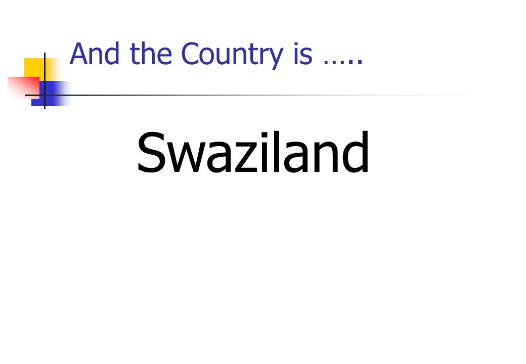 And the Country is ….. Swaziland