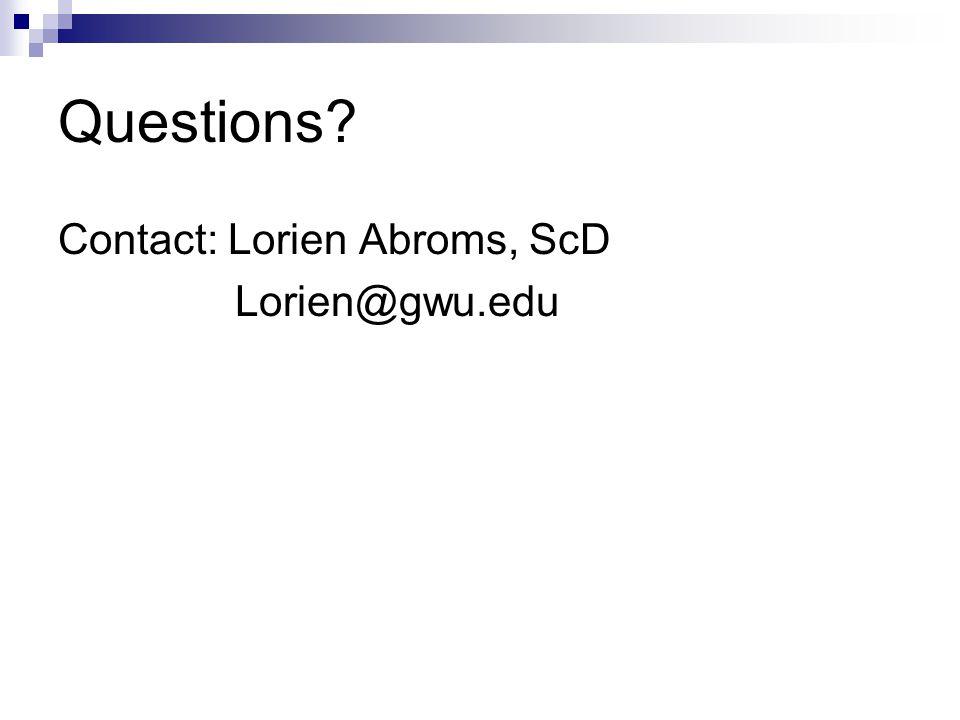 Questions? Contact: Lorien Abroms, ScD Lorien@gwu.edu