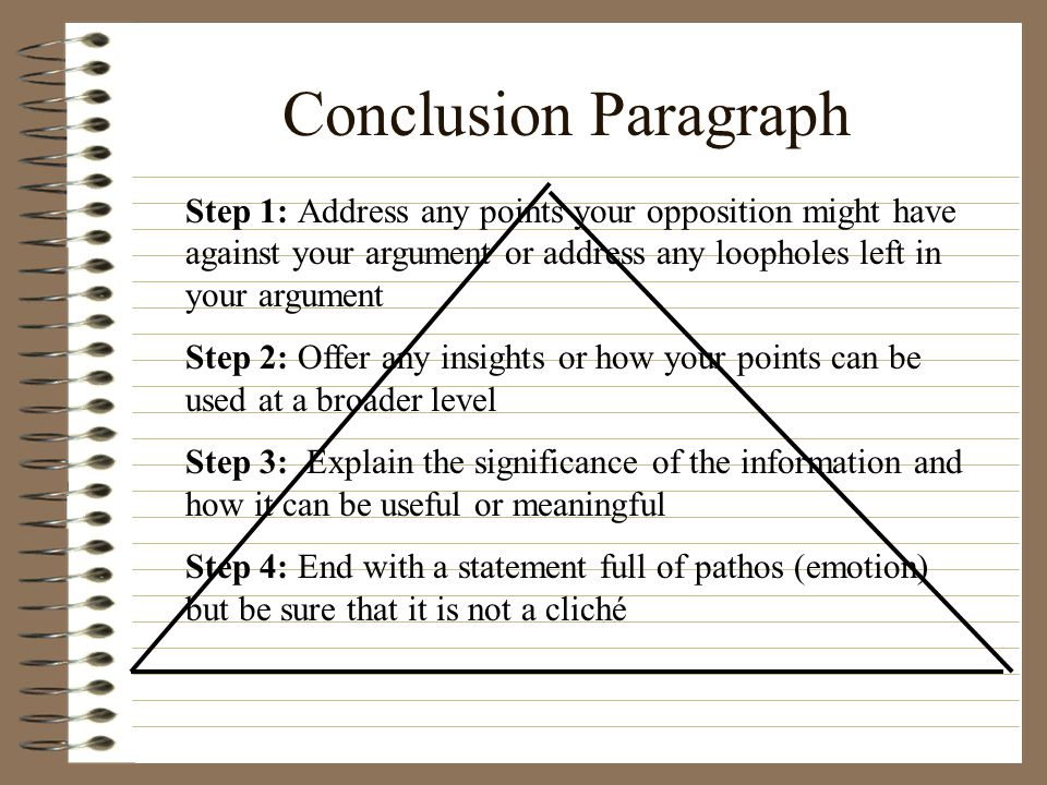 Conclusion Paragraph Step 1: Address any points your opposition might have against your argument or address any loopholes left in your argument Step 2