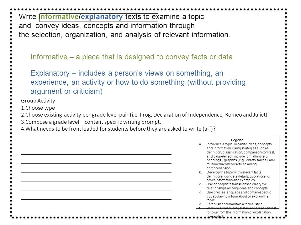 Write informative/explanatory texts to examine a topic and convey ideas, concepts and information through the selection, organization, and analysis of relevant information.