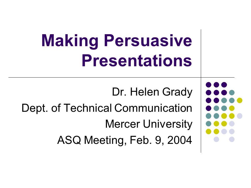 Making Persuasive Presentations Dr. Helen Grady Dept.