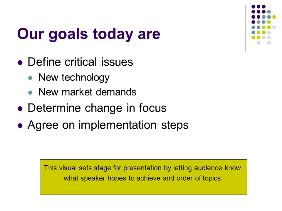Our goals today are Define critical issues New technology New market demands Determine change in focus Agree on implementation steps This visual sets stage for presentation by letting audience know what speaker hopes to achieve and order of topics.