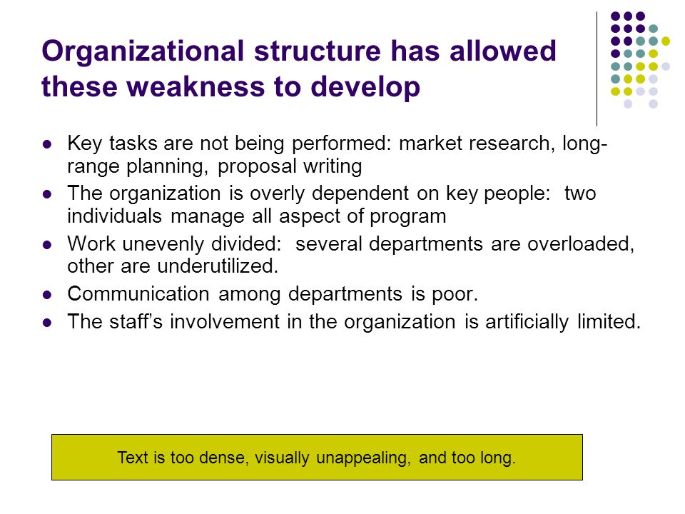 Organizational structure has allowed these weakness to develop Key tasks are not being performed: market research, long- range planning, proposal writing The organization is overly dependent on key people: two individuals manage all aspect of program Work unevenly divided: several departments are overloaded, other are underutilized.