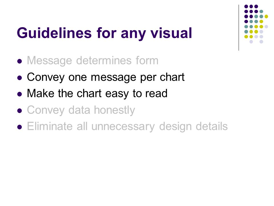 Guidelines for any visual Message determines form Convey one message per chart Make the chart easy to read Convey data honestly Eliminate all unnecessary design details