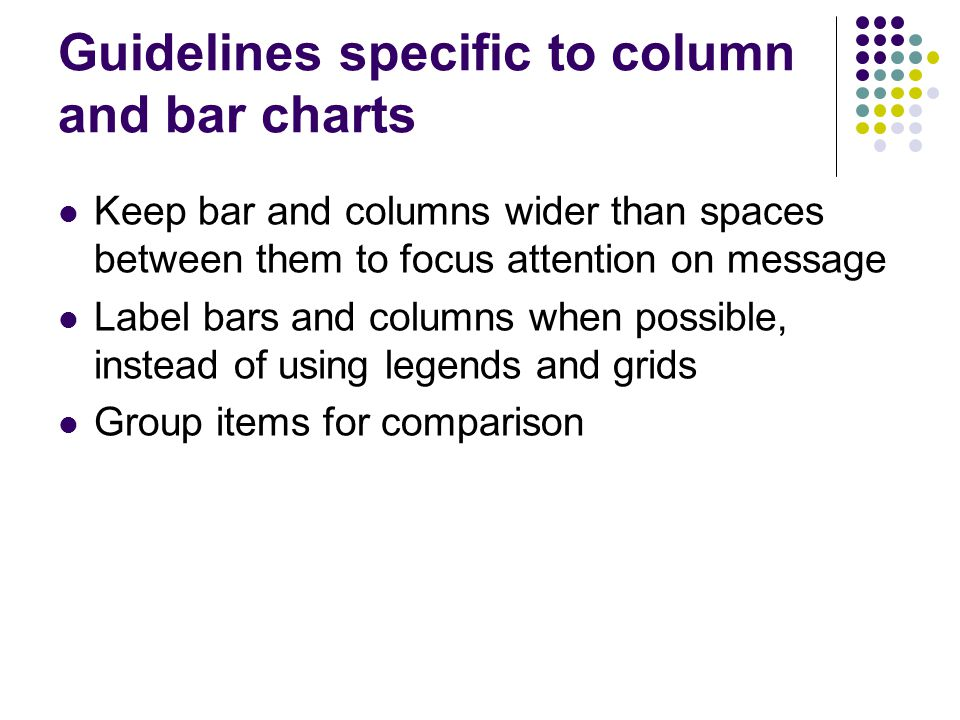 Guidelines specific to column and bar charts Keep bar and columns wider than spaces between them to focus attention on message Label bars and columns when possible, instead of using legends and grids Group items for comparison