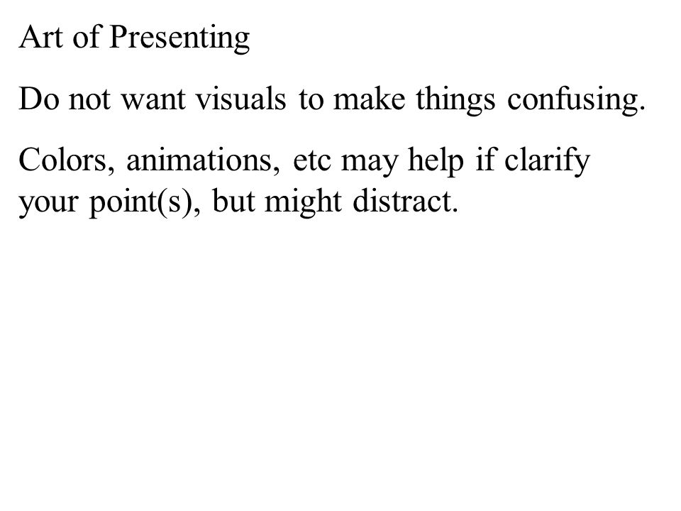 Art of Presenting Visuals should not make things confusing; they should help not hinder.