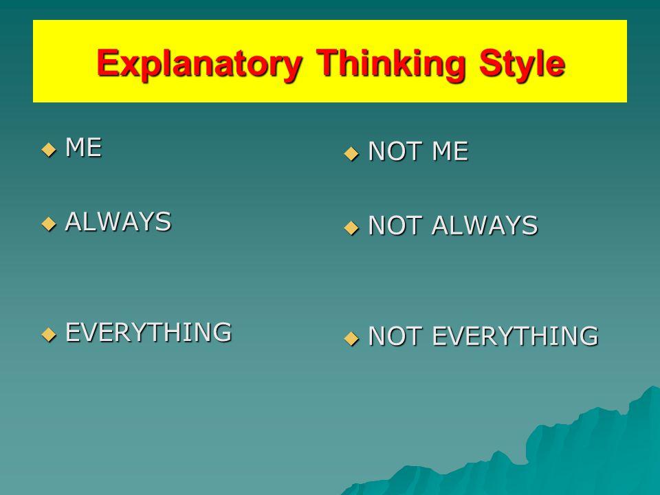 Explanatory style: optimism  Personal  Permanent  Pervasive