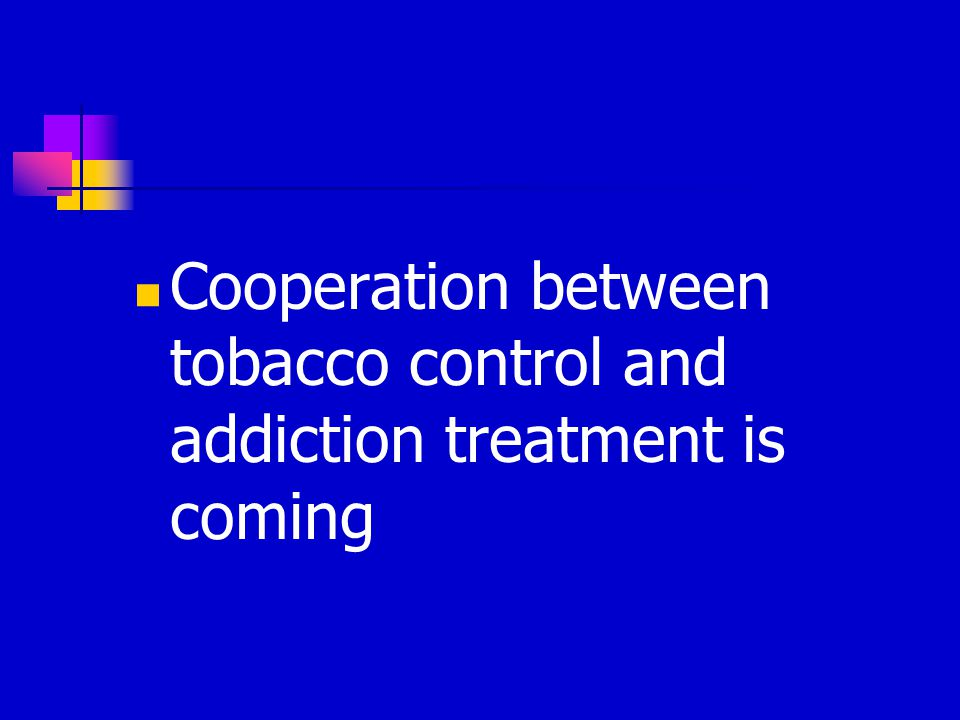 Barriers to Treating Nicotine Addiction Concurrently can't quit everything at once (myth) the anxiety produced will cause relapse to other substance clients will resist will detract from serious addictions lesser of 2 evils.