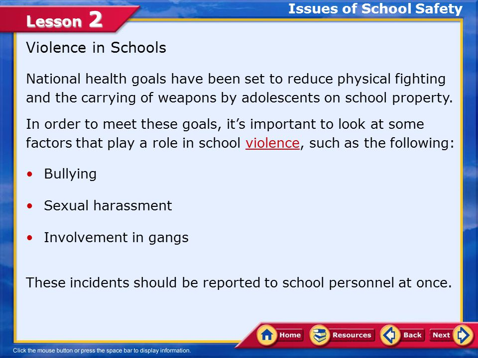 Lesson 2 Describe factors that play a role in school violence GCIT Determine actions that you, GCIT, and the community can take to reduce violence Analyze violence that occurs within GCIT In this lesson, you will learn to: Lesson Objectives