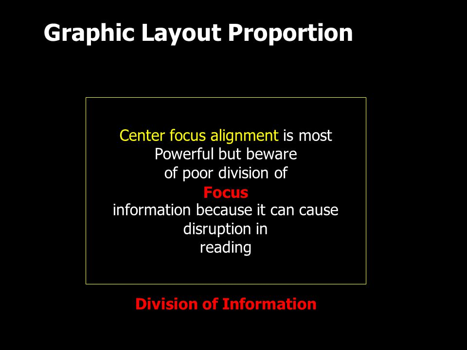 Center focus alignment is most Powerful but beware of poor division of information because it can cause disruption in reading Focus Division of Information Graphic Layout Proportion