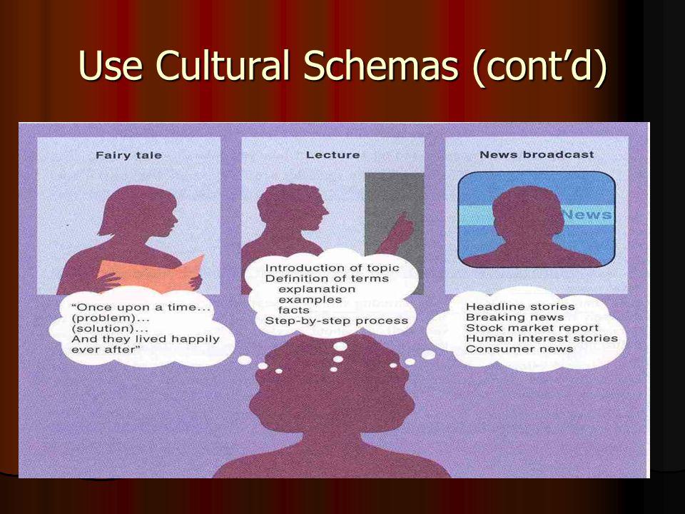 Use Cultural Schemas (cont'd)