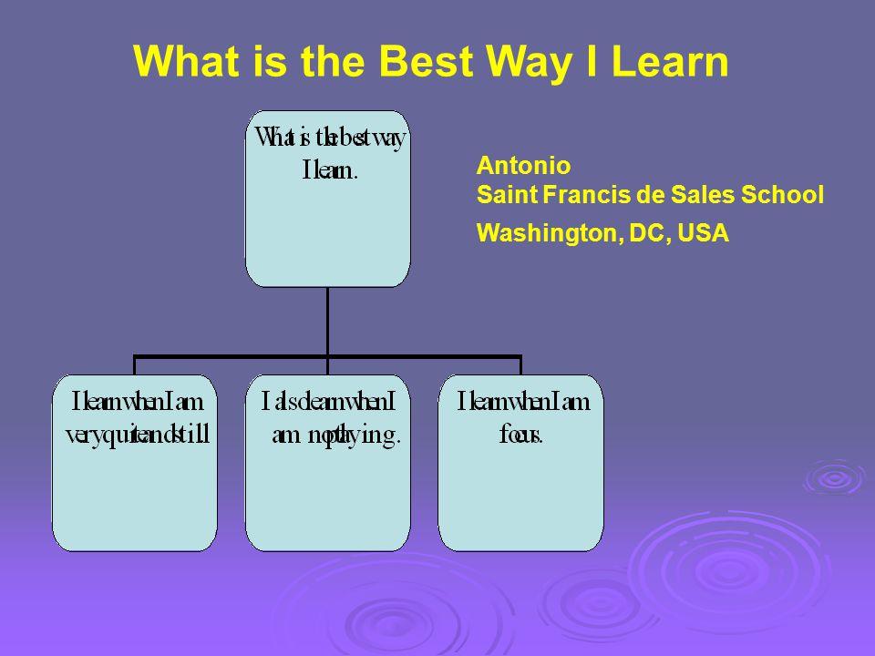 Antonio Saint Francis de Sales School Washington, DC, USA What is the Best Way I Learn