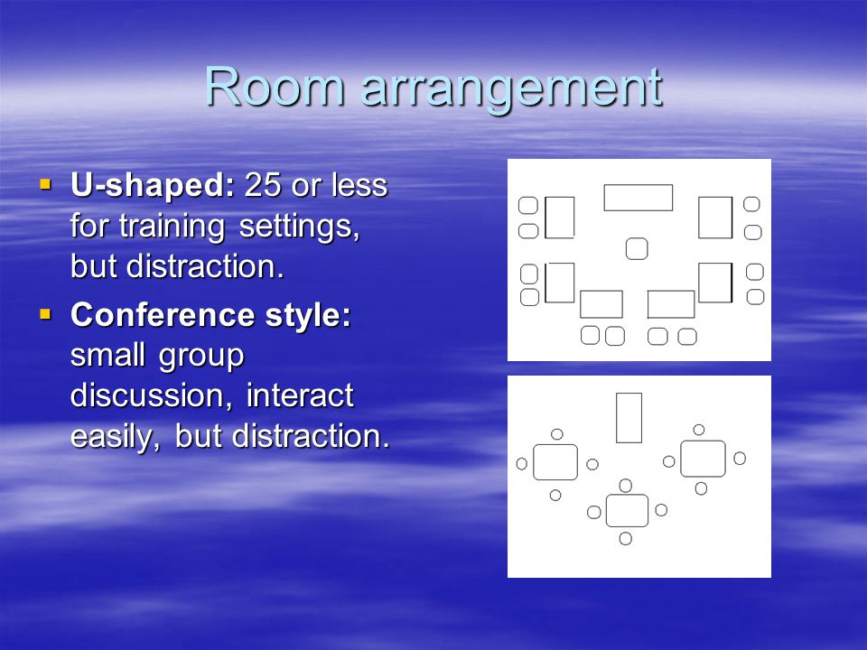 Room arrangement  U-shaped: 25 or less for training settings, but distraction.