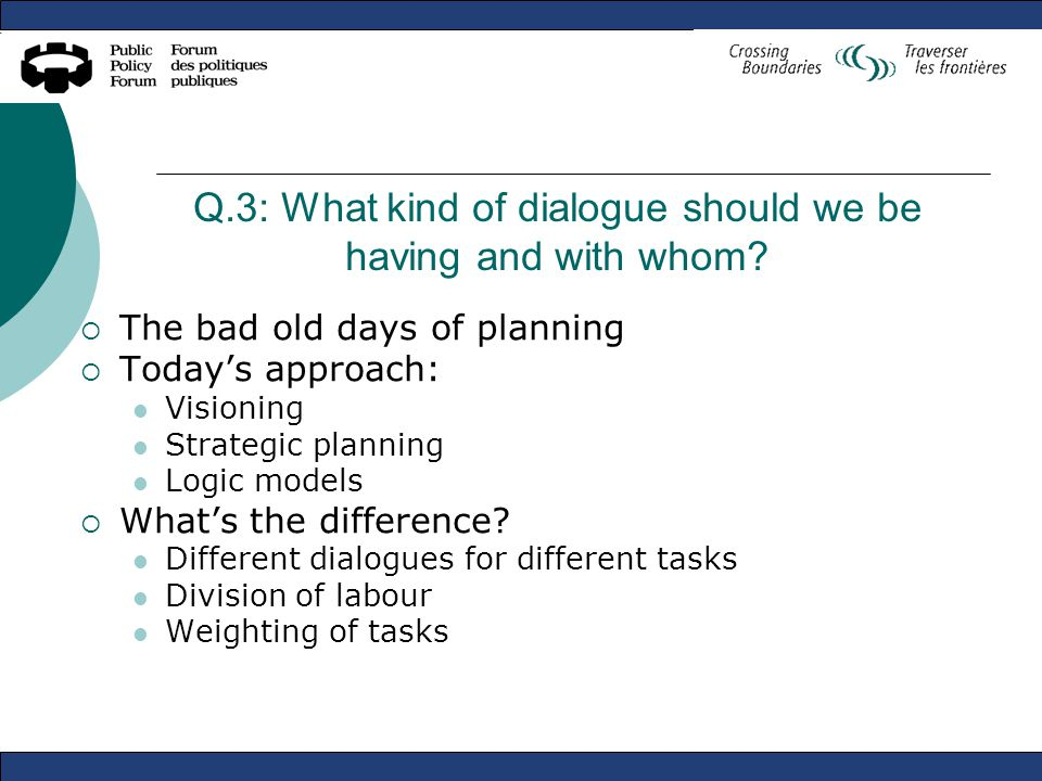 Q.3: What kind of dialogue should we be having and with whom.