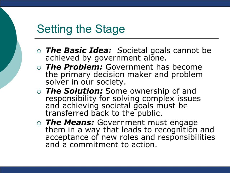 Setting the Stage  The Basic Idea: Societal goals cannot be achieved by government alone.