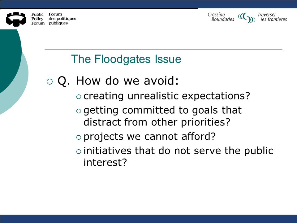 The Floodgates Issue  Q.How do we avoid:  creating unrealistic expectations.