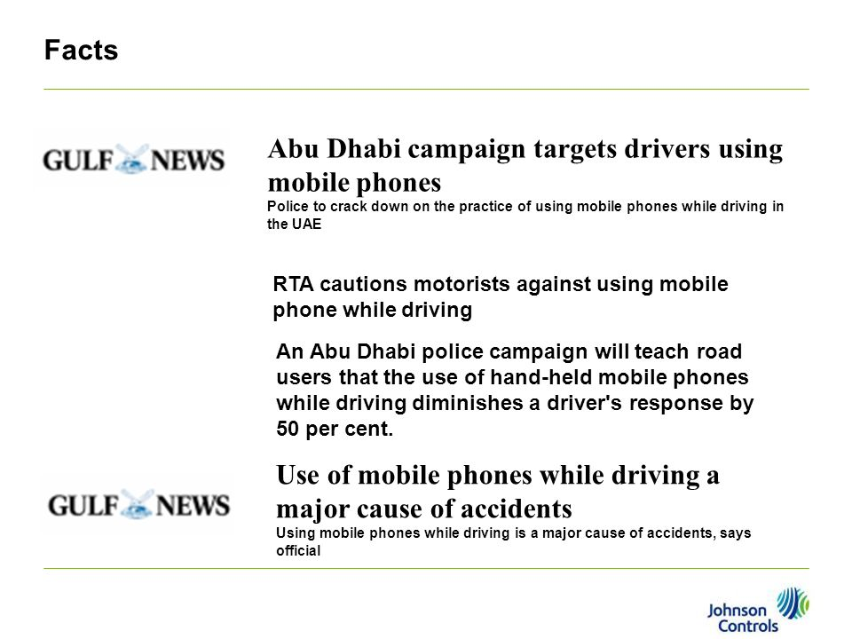 Facts Abu Dhabi campaign targets drivers using mobile phones Police to crack down on the practice of using mobile phones while driving in the UAE RTA cautions motorists against using mobile phone while driving An Abu Dhabi police campaign will teach road users that the use of hand-held mobile phones while driving diminishes a driver s response by 50 per cent.