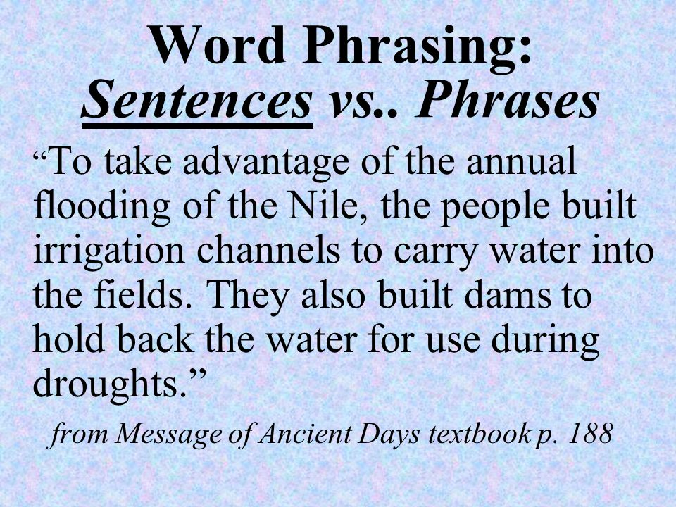 Word Phrasing Use phrases whenever possible Avoid sentences (too wordy)