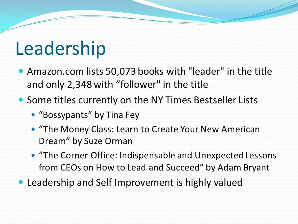 Leadership Amazon.com lists 50,073 books with