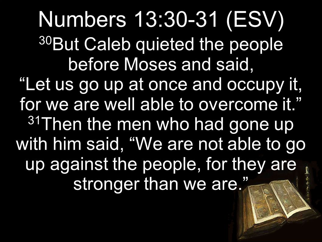 30 But Caleb quieted the people before Moses and said, Let us go up at once and occupy it, for we are well able to overcome it. 31 Then the men who had gone up with him said, We are not able to go up against the people, for they are stronger than we are. Numbers 13:30-31 (ESV)