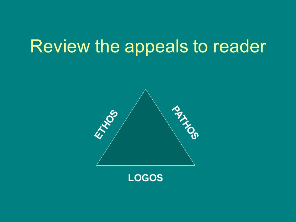 Review the appeals to reader ETHOS PATHOS LOGOS